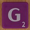 Scrabble white letter on purple G