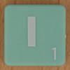 Scrabble white letter on pale green I