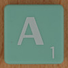 Scrabble white letter on pale green A