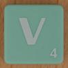 Scrabble white letter on pale green V