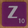 Scrabble white letter on purple Z