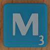 Scrabble white letter on blue M