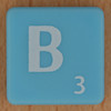 Scrabble white letter on pale blue B