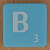 Scrabble white letter on pale blue B