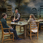 Christopher Sheard (Valentine Coverly), Scott Parkinson (Bernard Nightingale), Callie Johnson (Chloë Coverly), and Kate Fry (Hannah Jarvis) in ARCADIA at Writers Theatre. Photo by Michael Brosilow.