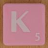 Scrabble white letter on pink K
