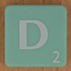 Scrabble white letter on pale green D