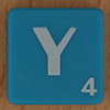 Scrabble white letter on blue Y