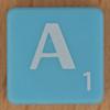Scrabble white letter on pale blue A