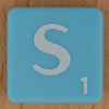 Scrabble white letter on pale blue S