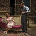 Jennifer Engstrom (Blanche DuBois) and Marc Grapey (Willy Loman) in DEATH OF A STREETCAR NAMED VIRGINIA WOOLF: A PARODY at Writers Theatre. Photo by Michael Brosilow.