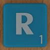 Scrabble white letter on blue R