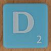 Scrabble white letter on pale blue D