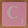 Scrabble white letter on pink C