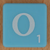 Scrabble white letter on pale blue O