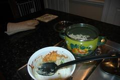 puts food away