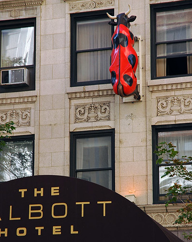 Ladybug Cow, climbing the wall of the Talbott