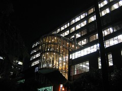 Here's a picture of the Rankine Brown Building at night.