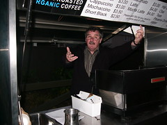 Terry and operatic coffee cart