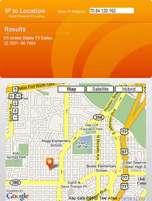 ajax powered Ip location lookup