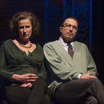 Karen Janes Woditsch (Martha) and John Hoogenakker (George) in DEATH OF A STREETCAR NAMED VIRGINIA WOOLF: A PARODY at Writers Theatre. Photo by Michael Brosilow.