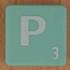 Scrabble white letter on pale green P