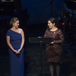 Director of Education Nicole Ripley and Education Coordinator Kelsey Chigas introduce a scene from THE MLK PROJECT: THE FIGHT FOR CIVIL RIGHTS at Writers Theatre's Grand Opening Gala on February 8, 2016. Photo by Michael Brosilow.