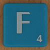 Scrabble white letter on blue F