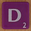 Scrabble white letter on purple D