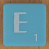 Scrabble white letter on pale blue E