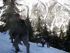 Brad heading up steep slope towards ridge