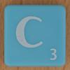 Scrabble white letter on pale blue C