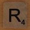 wooden tile letter R