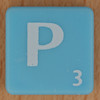 Scrabble white letter on pale blue P