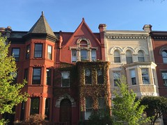 Houses on S Street NW, spring evening in Dupont Circle, Washington, D.C.