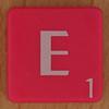 Scrabble white letter on hot pink E