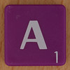 Scrabble white letter on purple A
