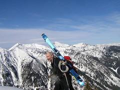 Skier Rick reaching summit of Arrowhead