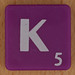 Scrabble white letter on purple K