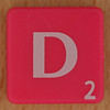 Scrabble white letter on hot pink D