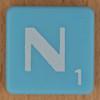 Scrabble white letter on pale blue N