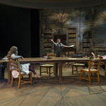 Christopher Sheard (Valentine Coverly), Callie Johnson (Chloë Coverly), Scott Parkinson (Bernard Nightingale), and Kate Fry (Hannah Jarvis) in ARCADIA at Writers Theatre. Photo by Michael Brosilow.