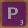 Scrabble white letter on purple P
