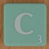 Scrabble white letter on pale green C