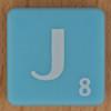 Scrabble white letter on pale blue J