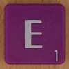 Scrabble white letter on purple E
