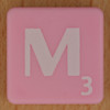 Scrabble white letter on pink M