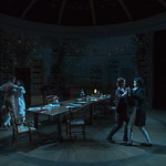 Elizabeth Stenholt (Thomasina Coverly), Greg Matthew Anderson (Septimus Hodge), Kate Fry (Hannah Jarvis), and Alistair Sewell (Gus Coverly) in ARCADIA at Writers Theatre. Photo by Michael Brosilow.