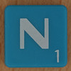 Scrabble white letter on blue N