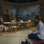 Alistair Sewell (Augustus Coverly), Christopher Sheard (Valentine Coverly), Elizabeth Stenholt (Thomasina Coverly), Greg Matthew Anderson (Septimus Hodge), and Kate Fry (Hannah Jarvis) in ARCADIA at Writers Theatre. Photo by Michael Brosilow.
